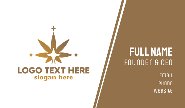 hemp - Sparkling Cannabis Leaf Business card horizontal design