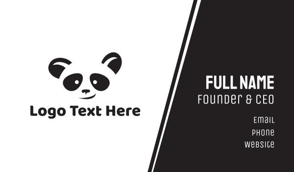stuffed toy - Smiling Panda Face Business card horizontal design