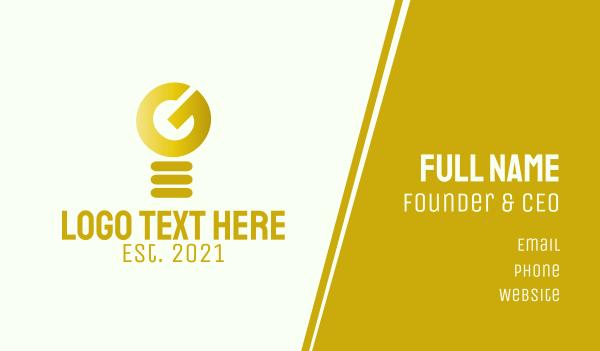 brilliant - Golden Light Bulb Letter G Business card horizontal design