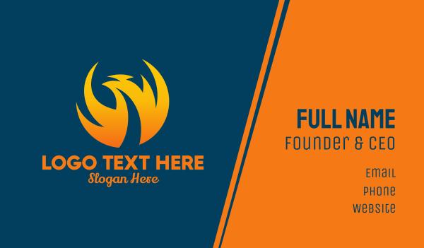mythological - Abstract Orange Phoenix  Business card horizontal design