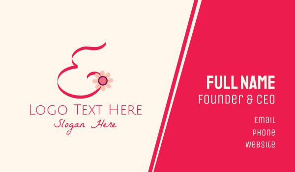 bloom - Pink Flower Letter E Business card horizontal design