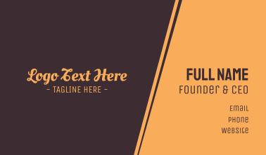 Brown Cursive Font Business Card