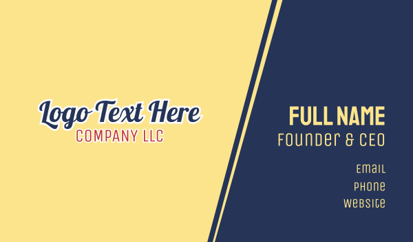 chicago - American Company Text Font Business card horizontal design