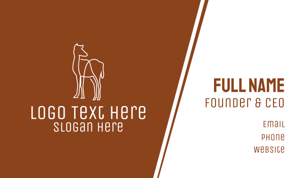 camel - White Camel Line Art Business card horizontal design