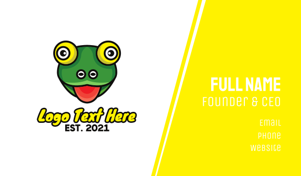 green eye - Hungry Frog Outline Business card horizontal design