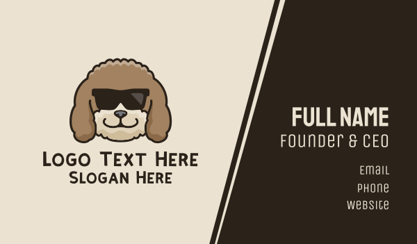 sun glasses - Fluffy Cool Dog Business card horizontal design