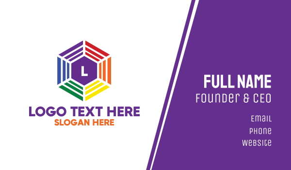 lgbt - Colorful Hexagon Lettermark Business card horizontal design