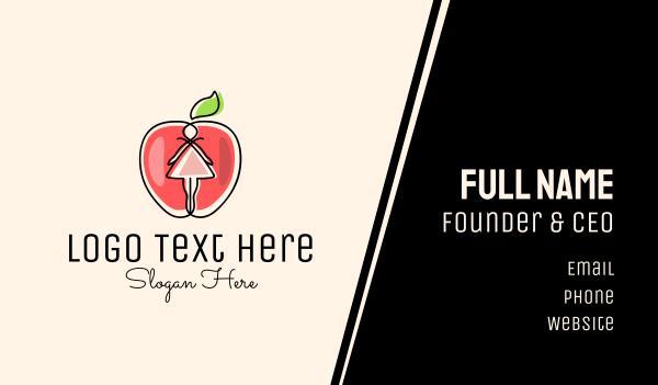 nutritionist - Dress Apple Girl Business card horizontal design