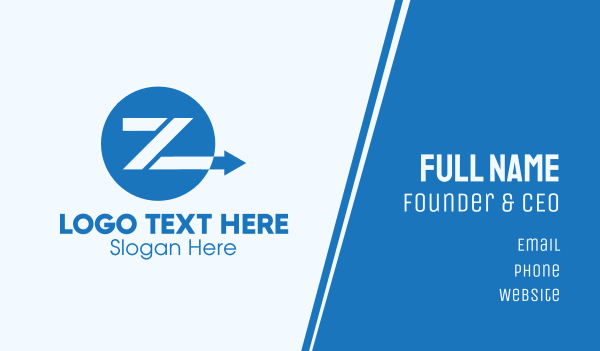 send - Blue Arrow Letter Z Business card horizontal design