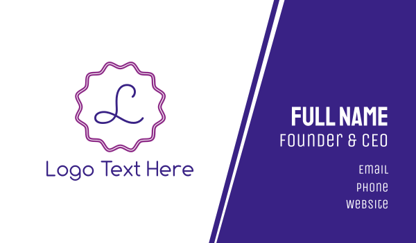 stamp - Purple & Cursive Business card horizontal design