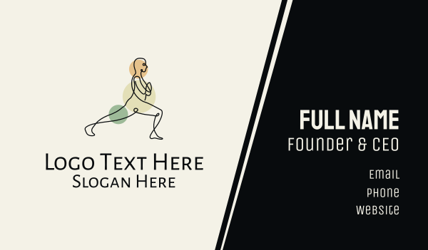 gymnast - Male Yoga Monoline Business card horizontal design