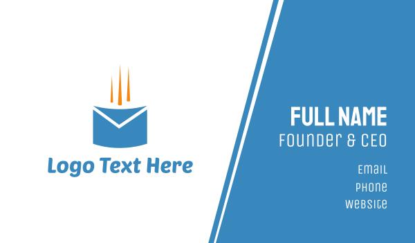 blue envelope - Fast Mail Business card horizontal design