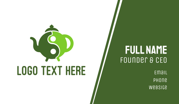 teapot - Yin Yang Green Tea Business card horizontal design