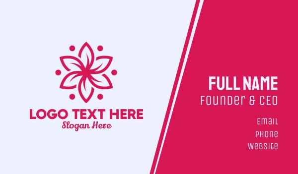 yoga studio - Pink Flower Massage  Business card horizontal design
