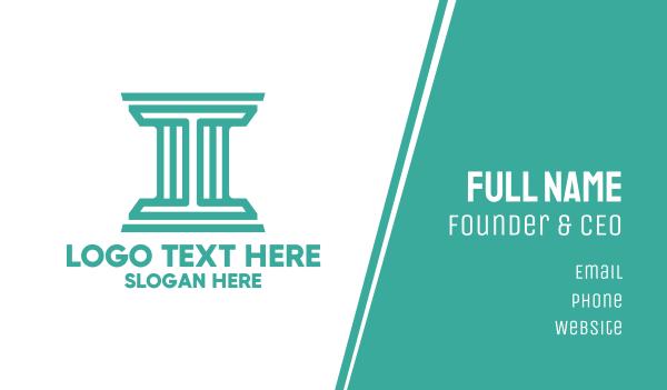 university - Letter I Pillar Outline  Business card horizontal design
