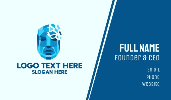 biomedical - Geometric Human Tech Face  Business card horizontal design