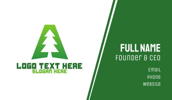 california - Tree Letter A Business card horizontal design