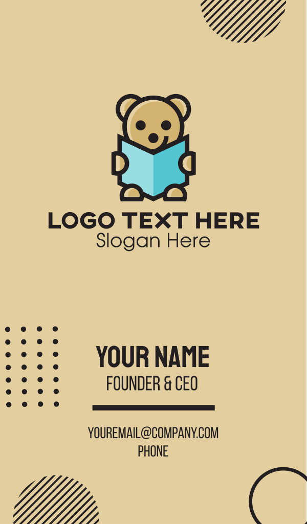 Reading Teddy Bear Business Card