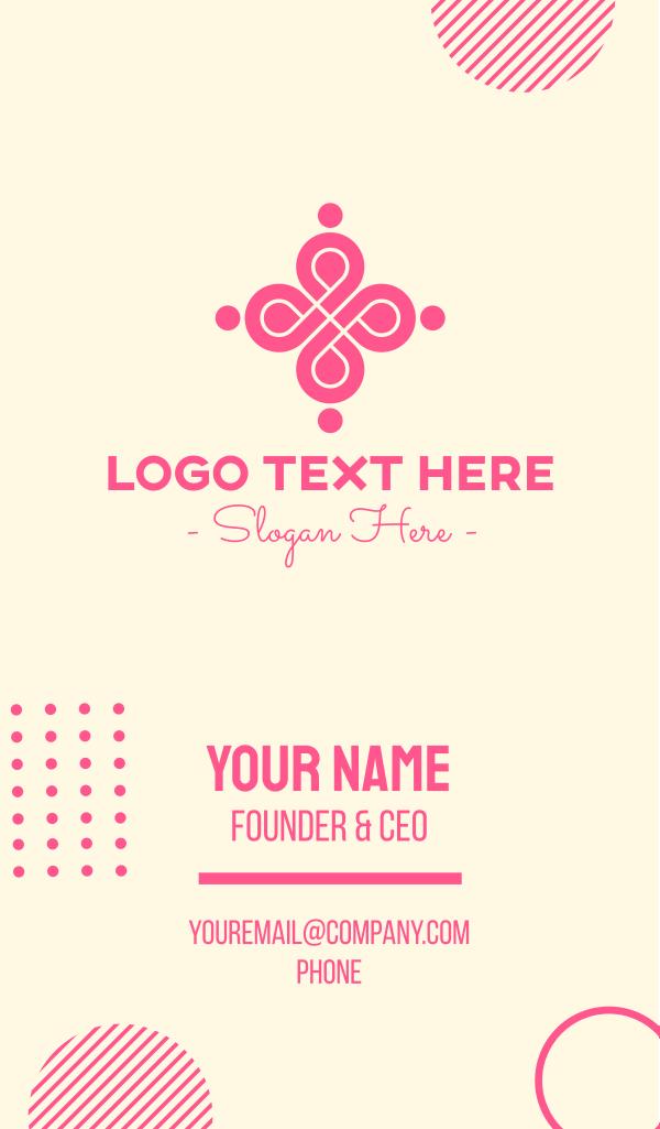 Stylish Pink Emblem Business Card