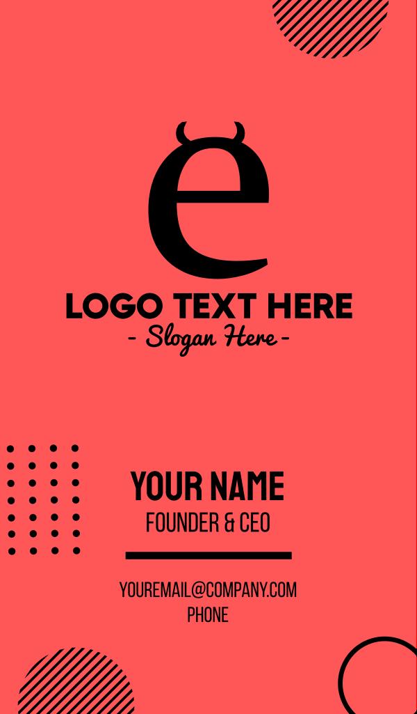 Naughty Letter E Business Card