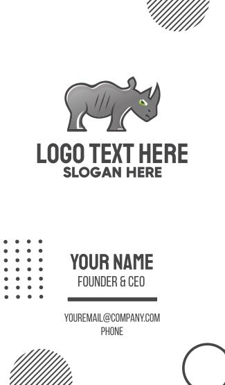 Rhinoceros Cartoon Business Card