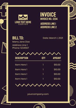 Memphis Design Invoice
