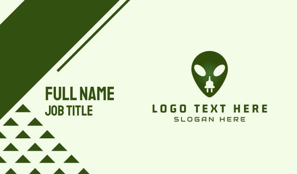 green plug - Electric Alien Business card horizontal design