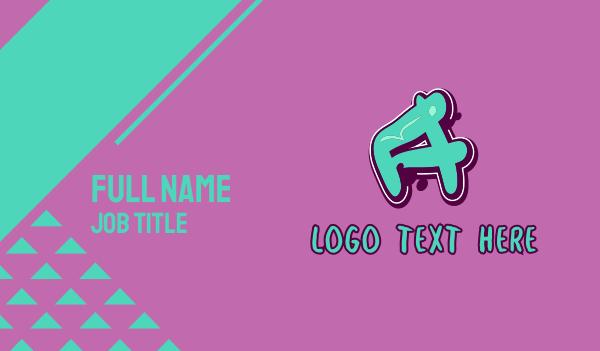 vibrant - Modern Graffiti Letter A Business card horizontal design