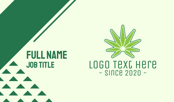 marijuana - Modern Edgy Cannabis Business card horizontal design