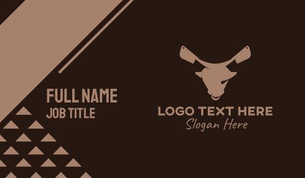 cow - Butcher Ox Knife  Business card horizontal design
