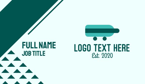 booze - Teal Bottle Delivery Business card horizontal design