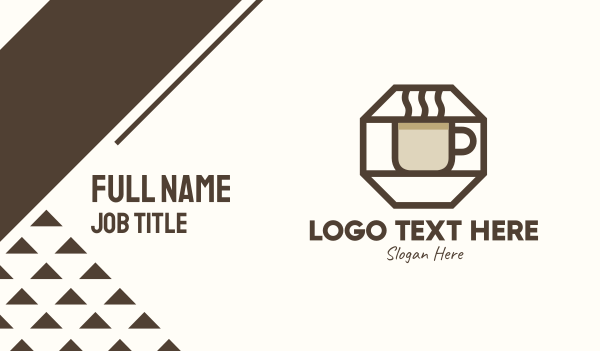 cup - Brown Hexagon Coffee Cup Business card horizontal design