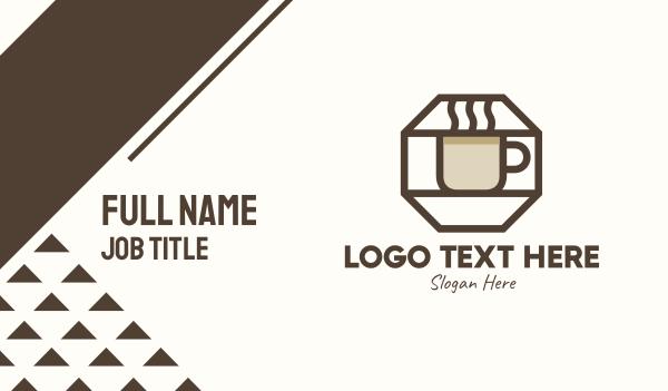mocha - Brown Hexagon Coffee Cup Business card horizontal design