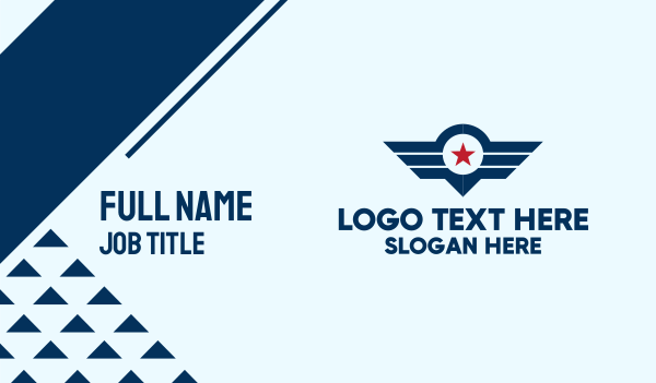 navy - Star Wings Emblem Business card horizontal design