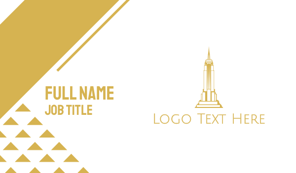 ny - Gold Sharp Tower Business card horizontal design