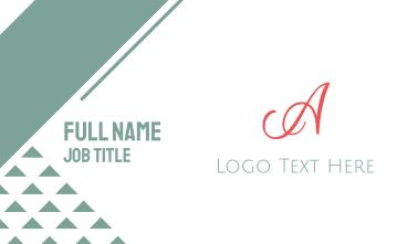 Coral Cursive Letter A Business Card