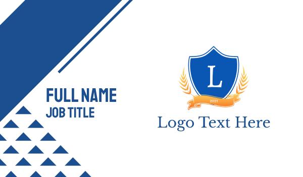 insignia - Classical Shield Emblem Business card horizontal design