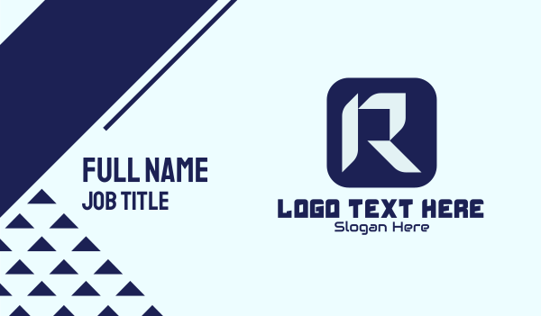 app development - Tech App Letter R Business card horizontal design