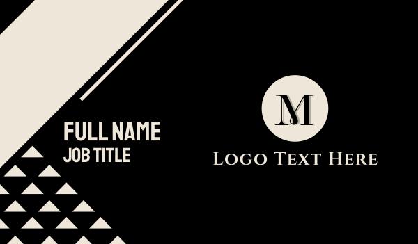 high tea - Elegant Letter M Circle Business card horizontal design