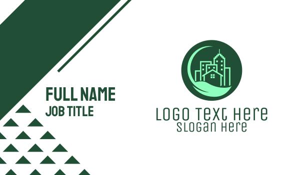 city - Eco Green City  Buildings Business card horizontal design