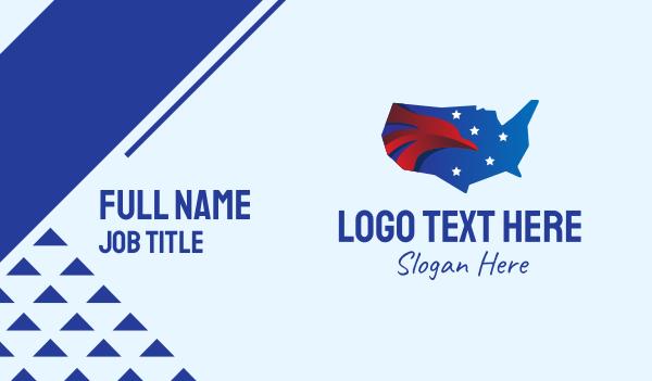 north america - American Eagle USA Map Business card horizontal design
