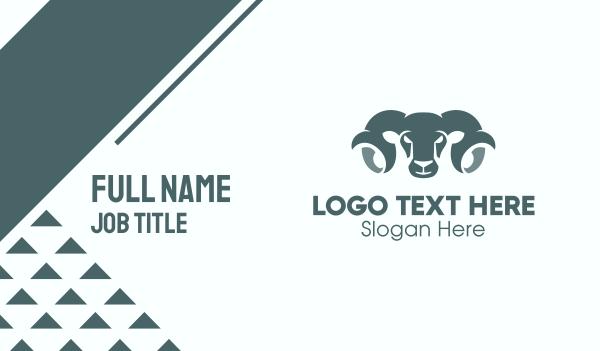 wild creature - Ram Head Silhouette Business card horizontal design