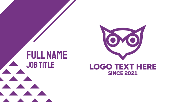 surveillance - Purple Owl Outline Business card horizontal design