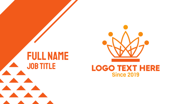 tech - Orange Tech Crown Business card horizontal design