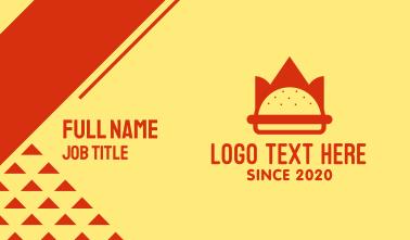 Burger Crown Restaurant   Business Card