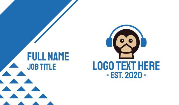 congo - Monkey DJ Music Headphones Business card horizontal design