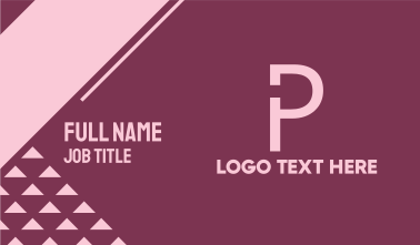 Generic Simple Letter P Business Card