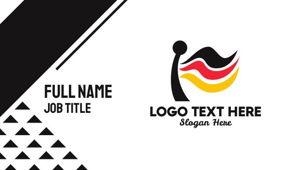 european - Germany Flag Flagpole  Business card horizontal design