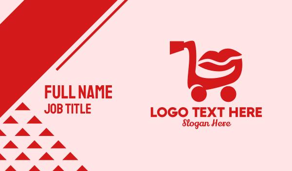 push cart - Shopping Cart Lips  Business card horizontal design