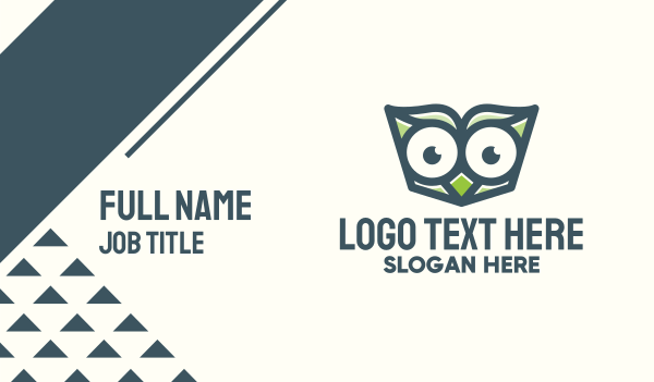 advice - Owl Book Read Business card horizontal design
